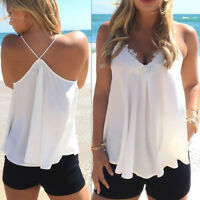 Women Lace Up Vest Top Sleeveless Casual Tank Blouse Summer Tops T-Shirt WHITE
