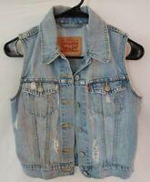 Levi's Light Wash Distressed Denim Vest Size S Women's Vest Button Closure