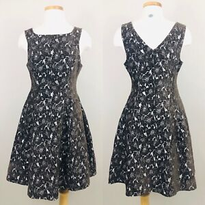 ModCloth Womens Brown Brocade Fit and Flare Dress M Medium