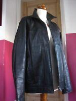 "Mens M&S AUTOGRAPH leather COAT JACKET size Medium 38 40"" black biker bomber"