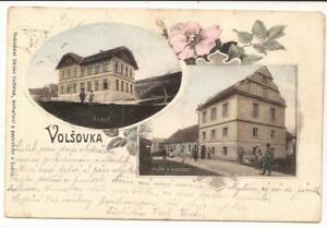 AK Volsovka Susice 1911 Wolschowka Schüttenhofen Skola Schule Hostinec Pension