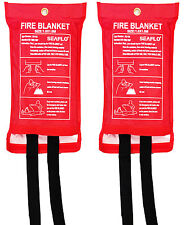2 x HOME SAFETY 1M x 1M FIRE BLANKET Protection SEALED CASE Quick Release Tab