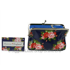New Ladies Floral Clasp Coin Purse Oil Cloth Handy Girls Rose Forever England