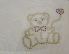 5 NEW TEDDY BEAR GARMENT IRON ON DESIGNS AUSTRIAN CRYSTALS & METALS TRANSFERS
