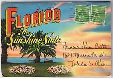 FLORIDA - LINEN SOUVENIR FOLDOUT VINTAGE POSTCARD FOLDER 18 VIEWS PMK 1946