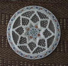 "18"" Rare Decor White Marble Plate Fine Lattice Work Inlaid Kitchen Decor Gifts"