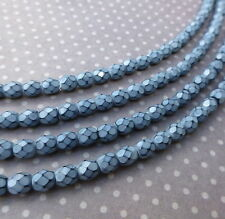 Fire polished czech glass beads 4mm SNAKE FOG - 38 beads per strand
