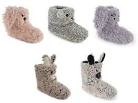 LADIES GIRLS ANIMAL PLUSH TEDDY LION DOG FUR SLIPPER BOOTS GREY PINK Size 3-8