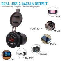 2 in 1 Dual USB LED Charger+ 12V-24V Voltmeter for Marine Car Boat Cellphone