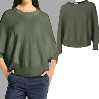genial marken Baumwolle PONCHO STRICK Pullover KHAKI CAPE Umhang Gr.34/36 XS/S