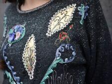 Damen Pullover Pulli FELL PERLEN Verzierungen 80er TRUE VINTAGE 80s sweater