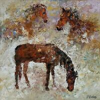 ANDRE DLUHOS ORIGINAL ART OIL PAINTING Horses Equine Equestrian Ranch Stallions