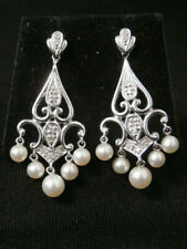 Vintage Sterling Silver Artisan Pearl Dangle Earring Set. Make Offer! #2713