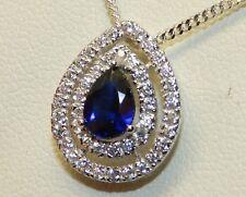 "Pear Shape 925 Sterling Silver Sapphire &  Diamond Cluster Pendant & 18"" Chain"