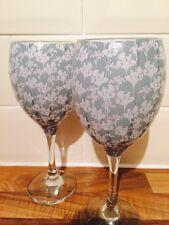 Set Of 2 Kirstie Allsopp Vintage Green Floral Decoupage Wine Glasses