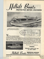 1946 PAPER AD Hilbilt Boats 33' Cruising Houseboat Protected Water Cruiser
