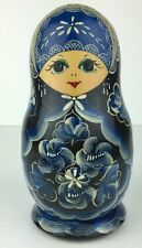 Vtg Vintage Russian Nesting Doll Handpainted Signed 1 Piece Wood Wooden MI178