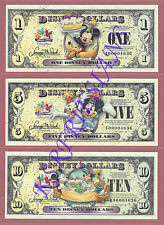 2009 Disney Dollars *Celebrate Today!* MATCHED SERIAL SET A00004636  * $1 $5 $10
