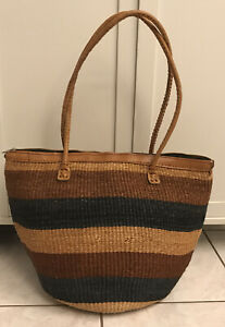 African Africa Sisal Straw Tote Purse Shopping Bag Leather Trim Handles Zipper