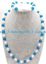 8mm Apatite Gemstone Necklace Bracelet Charming! 7-8mm White Freshwater Pearl &