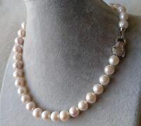 Große Perlenkette, kultiviert 11-12 mm Weiß Süßwasser Perle Halskette