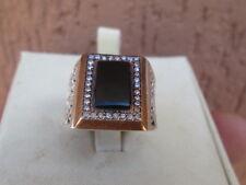 anello argento 925 uomo donna   stile antico onice zaffiri bianchi