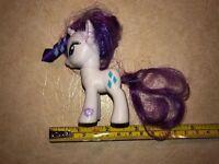 "2010 My Little Pony Hasbro G4 Rarity Unicorn MLP White Purple 3"" (1)@"
