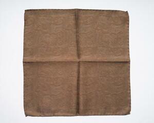 "Battisti New Brown Paisley Print 100% Silk Designer Pocket Square 13"""