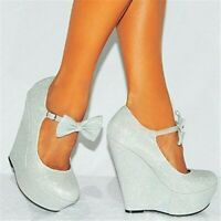 Womens Platform High Wedge 15cm Heel Shoes Bowknot Ankle Strap Round Toe Shoes