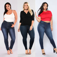 Women's Plus Size Stretch Denim Skinny Jeans Leggings Pants High Waist Trousers