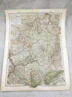 1899 Antik Map Of Deutschland Hessen Waldeck Nassau 19th Jahrhundert Deutsche