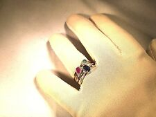 EMERALD, SAPPHIRE, & RUBY STACK RINGS, SET OF 3, 14K CLAD SS, SIZE 9 (M1198-118)