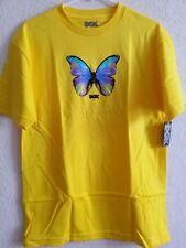 Women's Yellow Butterfly T Shirts Medium Size 10 or 12 DGK Skateboarders Apparel