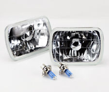 "7x6"" Halogen Semi Sealed H4 Crystal Glass Headlight Conversion w Bulbs Jeep"