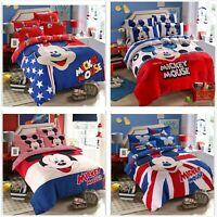 Home Textiles Kids Mickey Bedding Duvet Cover Sheet Pillowcases Cartoon Cotton