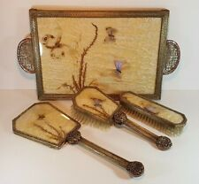 RARE FINE ART DECO BRASS COPPER BUTTERFLY WING VANITY SET, TRAY MIRROR BRUSHES