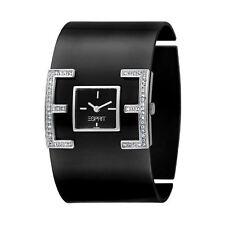 Elegant Wide Esprit Ladies Watch Black Silver Jewellery Stones UK Warranty
