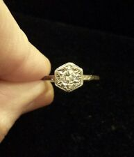 ANTIQUE 14K White Gold DIAMOND Solitaire Ring, HEXAGONAL FANCY GALLERY, Size 9