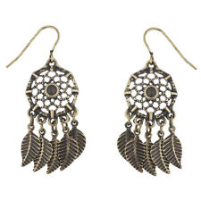 Lux Accessories Burnished Gold Tone Black Stone Dreamcatcher Feather Earrings