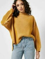 Topshop Ribbed Sweater Oversize High Low Hem Yellow Long Sleeves Boxy S M L NWT