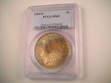 1884-O Morgan Silver Dollar PCGS MS 63 Outstanding Rainbow Toning on both sides