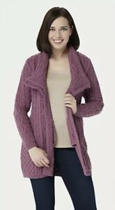 Aran Craft Merino Wool Zip Front Cardigan A251981 Plum XXL