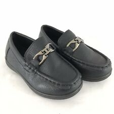 Coxist Toddler Boys Dress Loafer Driving Deck Shoe Faux Leather Black Size 10