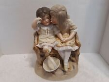 Gebruder Heubach Bisque Porcelian Two Girls on Bench with Basket