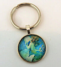 Mermaid glass cabochon keychain