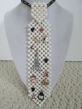 Auth Betsey Johnson Goes to Paris Eiffel Tower Sim Pearl Tie Statement Necklace