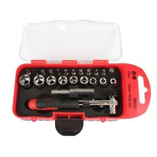 23Pcs Hand Torque Ratchet Wrench Tool Set Metric Socket Bit Small Tools Kit Box