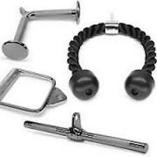 GYM CABLE HANDLE ATTACHMENT PACKAGE - TRICEP BAR, DEADLIFT, TRICEP ROPE, PULLEY