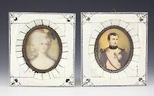 Pair of French Miniature Portrait Plaque Paintings on Porcelain c1900 Napoleon