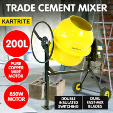 200L Kartrite Portable Cement Concrete Mixer Electric Construction Sand Gravel